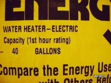 water heater sizing label