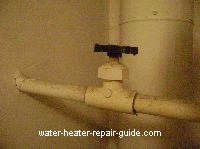 Open water heater supply valve completely